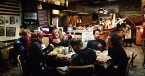 It's no where as cool at the Avengers eating shawarma, though.