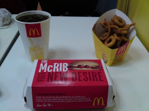"""New desire""? I'll be the judge of that, McRib box!"