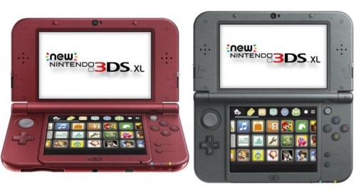 The original North America launch colors of the New Nintendo 3DS XL.