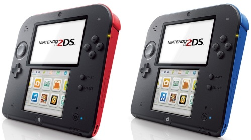 The original North America launch colors of the Nintendo 2DS.