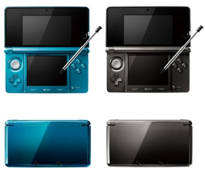 The Nintendo 3DS in its original launch colors (Aqua Blue and Cosmo Black).