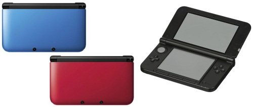 The original launch colors of the Nintendo 3DS XL.