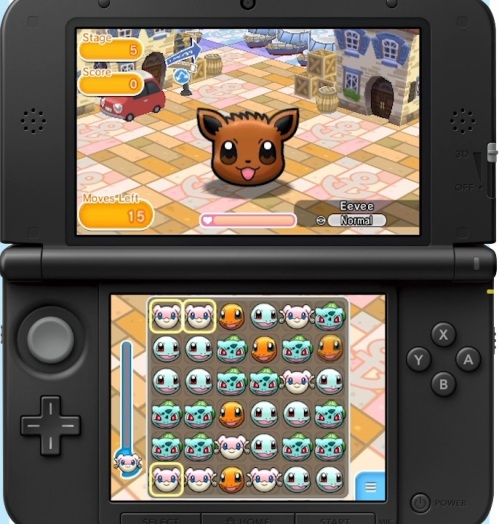 The puzzle board is displayed on the lower screen, allowing you to use touch controls. The upper screen will show your remaining moves and your target's life bar.