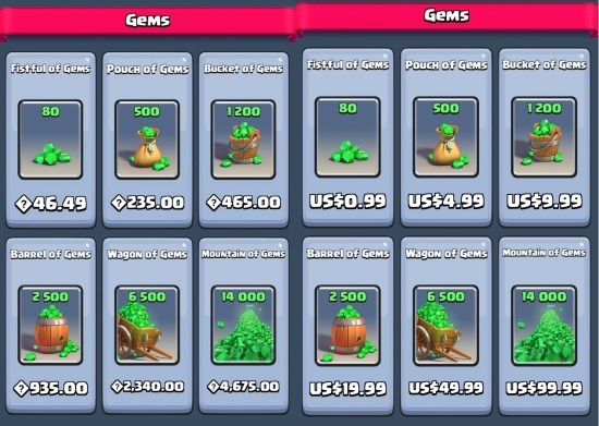 cost of gems